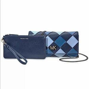 Michael Kors Admiral Blue Mott Leather Clutch Bag